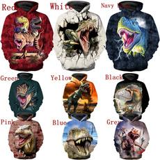 Casual Hoodie, Animal, dragonhoodie, dinosaurearring
