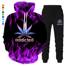 3D hoodies, leaf, Winter, pants