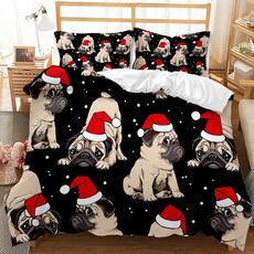 King, 3pcsbeddingset, Polyester, Christmas