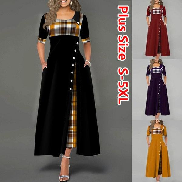 elagantdresse, alinedresse, Plus Size, Plaid Dress
