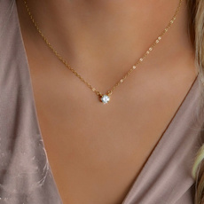 delicatenecklace, czpendant, DIAMOND, daintygoldnecklace