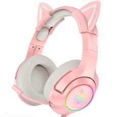 pink, Headset, Microphone, girlgamer