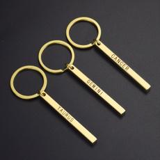 cuboidmetallettering, Key Chain, jewelrykeychain, 12constellationkeychain