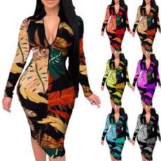 slim dress, printeddres, Autumn Dress, Deep V-neck Dress