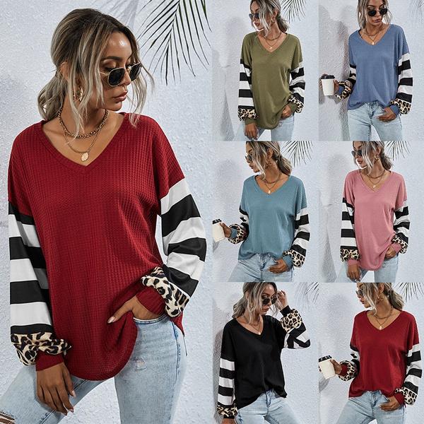 Splicing, T Shirts, Stripes, Female
