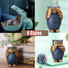 Owl, Figurine, Statue, Office