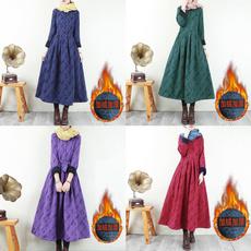 velvet, long sleeve dress, Dresses, button