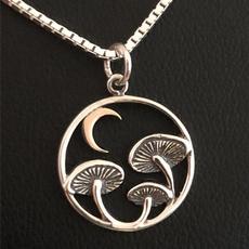 Sterling, crescentnecklace, Jewelry, Mushroom