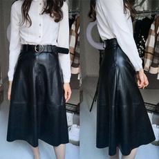 long skirt, Fashion, Waist, PU