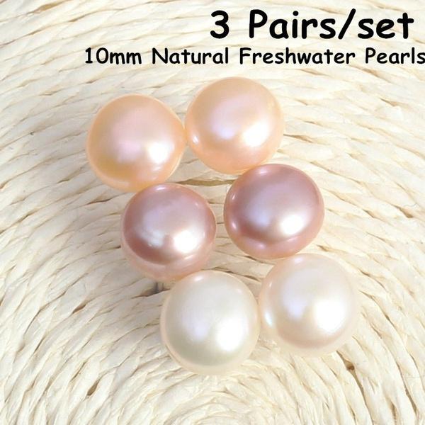 pink, Sterling Silver Earrings, Pearl Earrings, Stud Earring