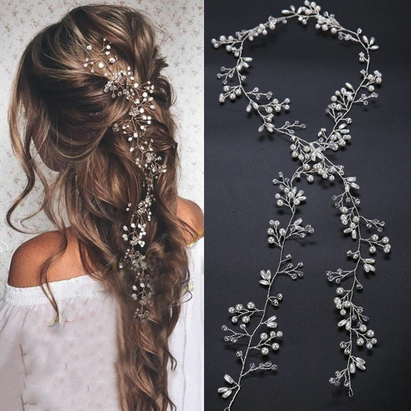 hairdecoration, Bridesmaid, handmadecrystalheadpiece, brideheadchain