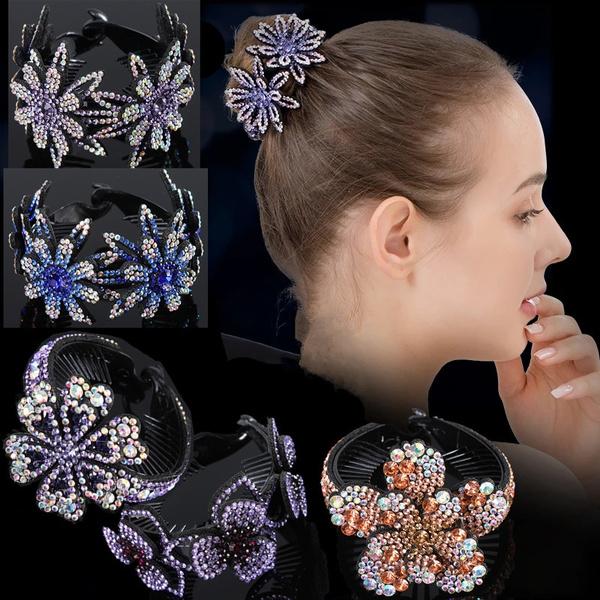 Flowers, Clip, Rhinestone, Hair Pins