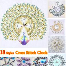 Decor, DIAMOND, embroiderycraft, Clock