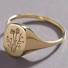 Flowers, letterring, wedding ring, gold