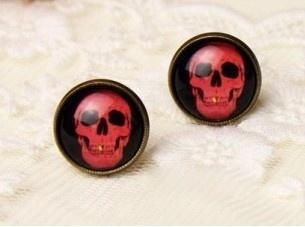Gemstone Earrings, skull, Stud Earring, Jewelry