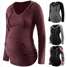 sleeve v-neck, Fashion, maternity hoodies, Long Sleeve