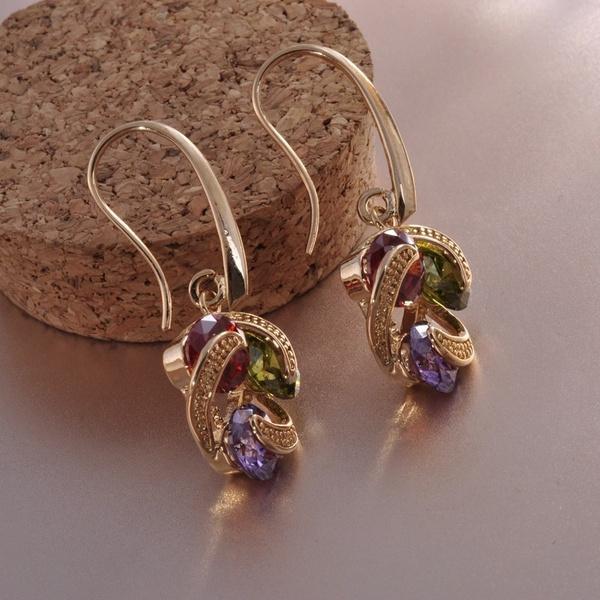 yellow gold, Dangle Earring, Gemstone Earrings, Jewelry