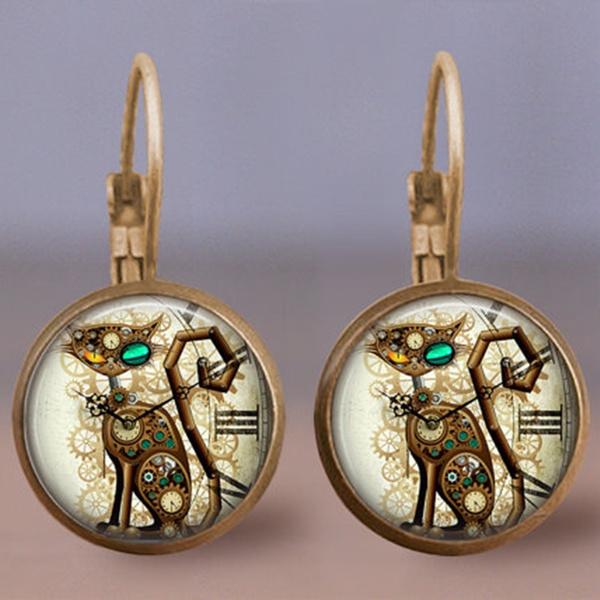 Jewelry, steampunkearring, Steampunk, animalearring