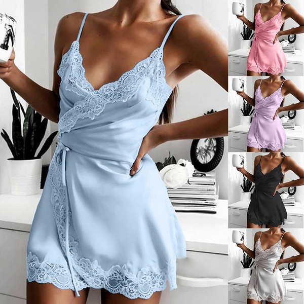 Deep V-Neck, lacesexynightgown, Fashion, Lace
