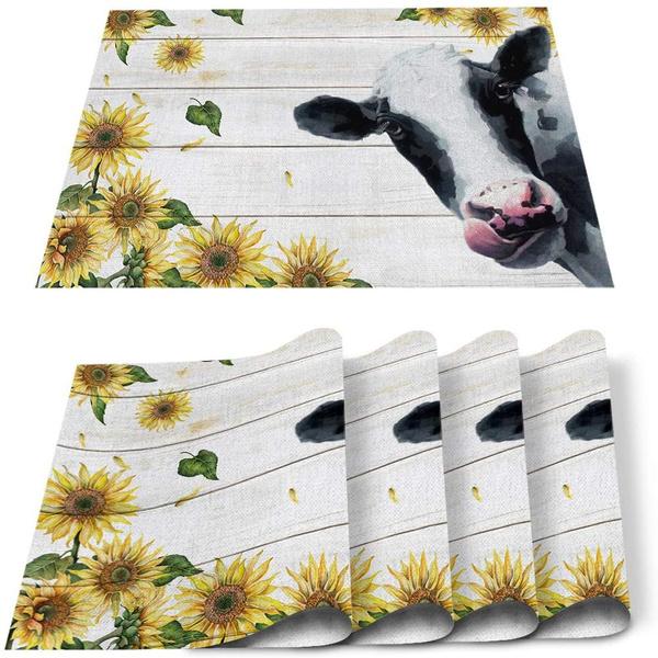 Decor, Sunflowers, cow, Farm
