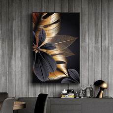 golden, Plants, Wall Art, Home Decor