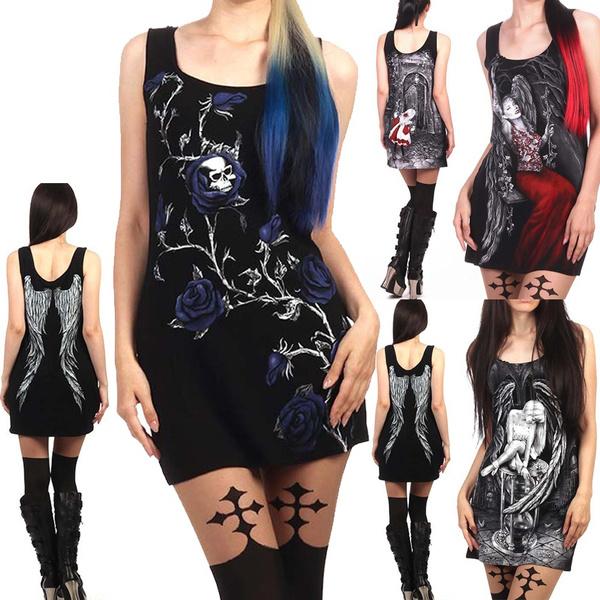 Goth, Fashion, Floral print, skull