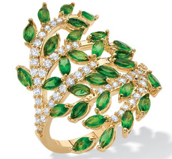 DIAMOND, emeraldring, gold, leafjewelry