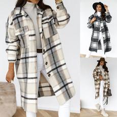 Casual Jackets, plaid, Fashion, lapel