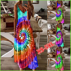 Deep V-Neck, Summer, Plus Size, long dress
