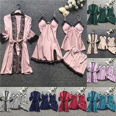4pcspajama, Lace, sleepwearset, womensexynightgownsset