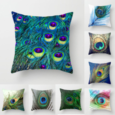 peacock, pillowcover18x18, peacockfeathercushioncover, Polyester