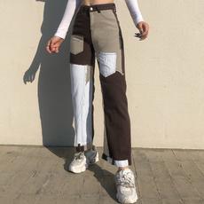 Splicing, trousers, high waist, womens jeans