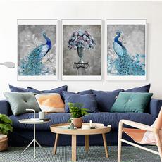 peacock, Decor, abstraction, art