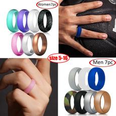 Couple Rings, rubberring, Engagement Wedding Ring Set, sportsring