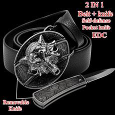 designer belts, brown, pocketknife, Leather belt