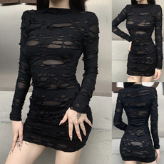 Mini, GOTHIC DRESS, Grunge, Long Sleeve
