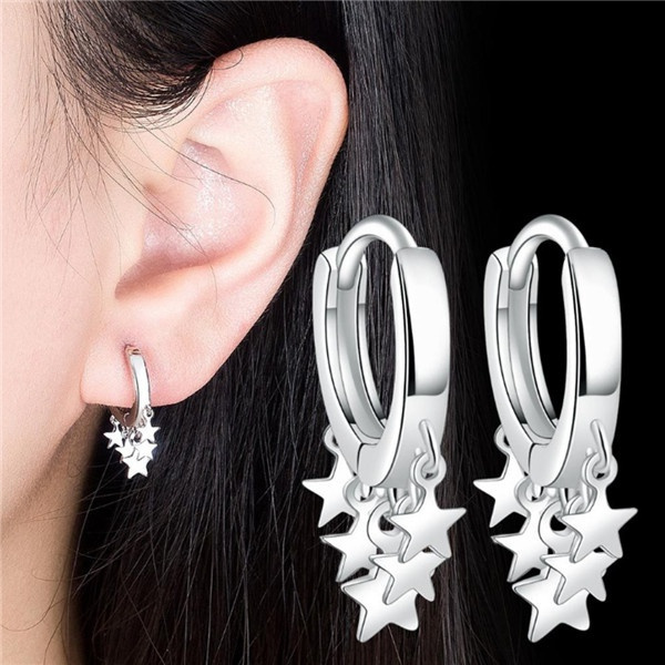 Sterling, charmearring, woman fashion, Hoop Earring