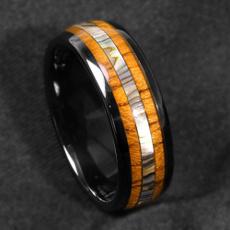8MM, black, wedding ring, Wood
