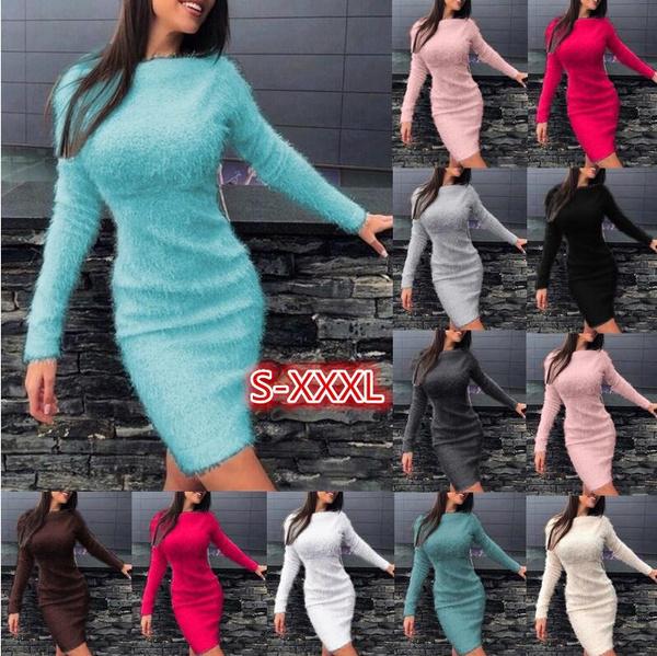 slim dress, Fashion, sweater dress, long sleeve sweater
