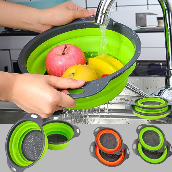 siliconestrainer, siliconecolander, fruitvegetablestrainer, Kitchen & Dining