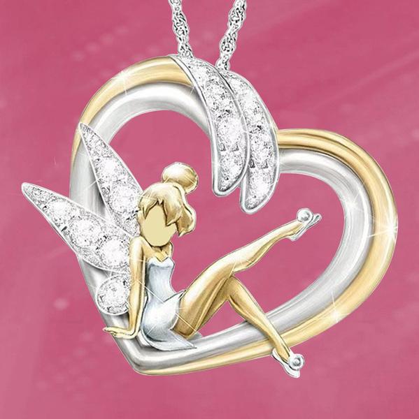 Sterling, Heart, DIAMOND, fairynecklace