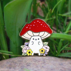 Kawaii, lapel, froggo, Mushroom