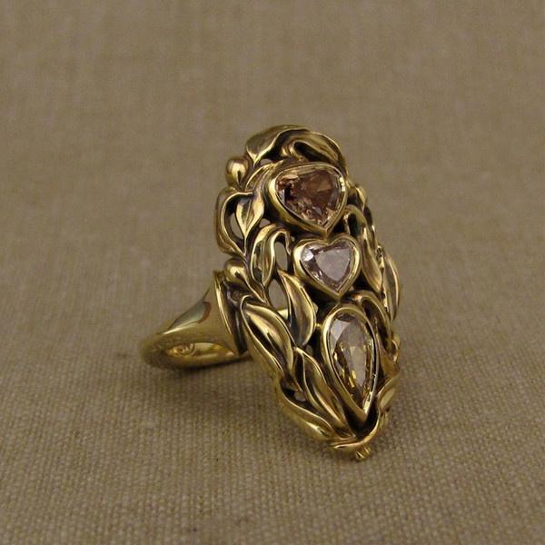 Heart, Fashion, wedding ring, gold