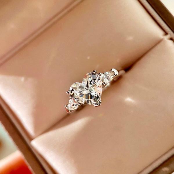Sterling, Heart, DIAMOND, wedding ring