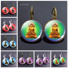 earringforwomen, buddhismshakyamunihoopearring, Dangle Earring, Silver Earrings