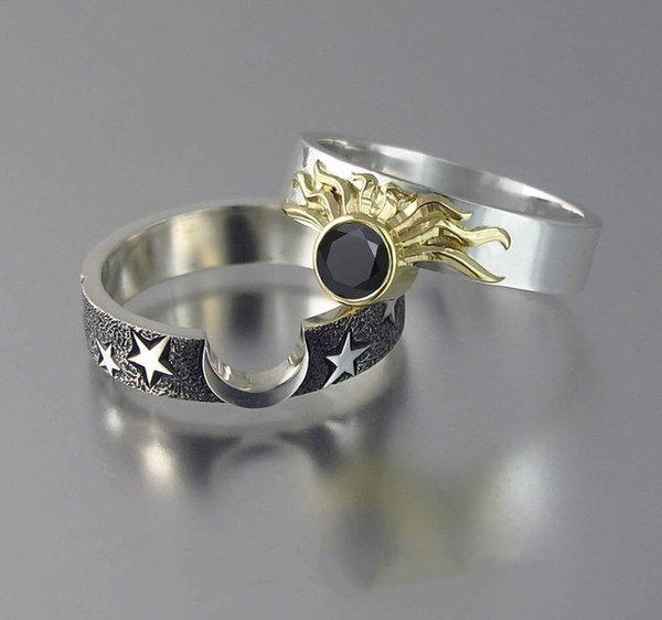 Sterling, Fashion, sunmoonring, wedding ring