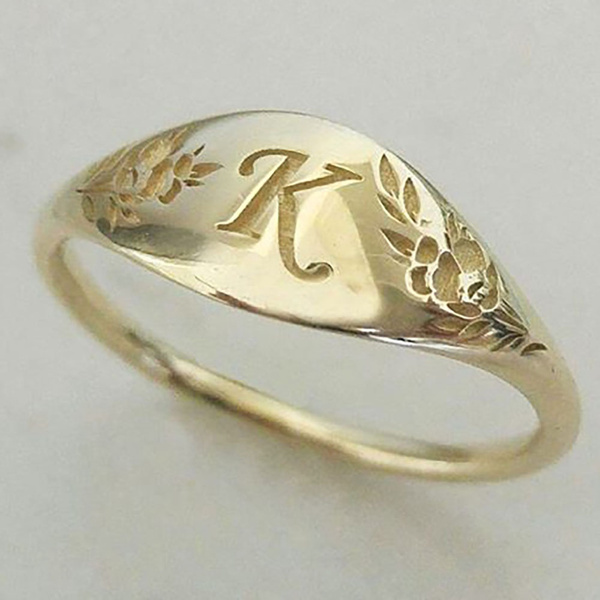 letterring, wedding ring, gold, Engagement Ring