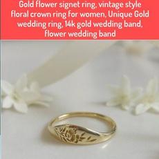 wedding ring, gold, crown, 14k Gold