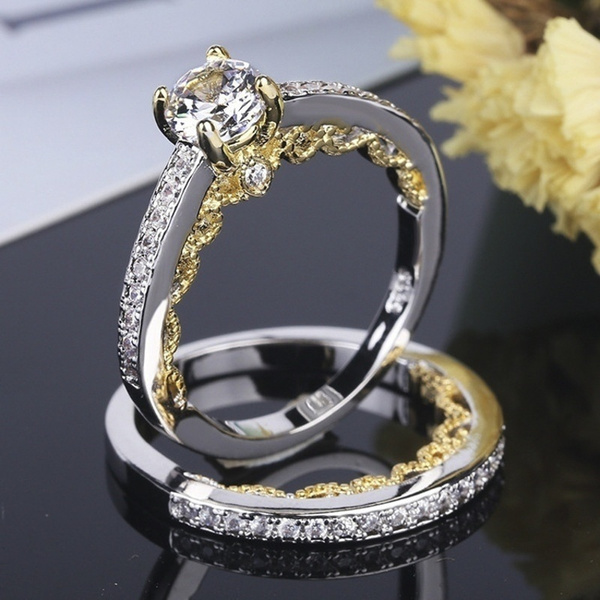 golden, Fashion, Lace, 925 silver rings