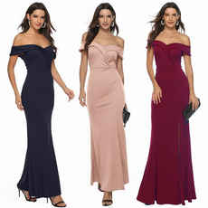 women sexy dress, gowns, slim, solidcolordre